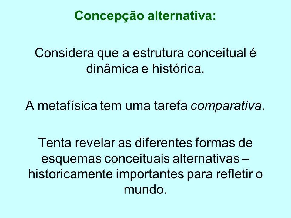 Concepção alternativa: Considera que a estrutura conceitual é dinâmica e histórica. A metafísica tem uma tarefa comparativa. Tenta revelar as diferent