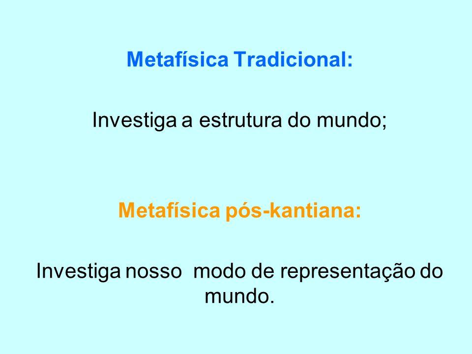 Metafísica Tradicional: Investiga a estrutura do mundo; Metafísica pós-kantiana: Investiga nosso modo de representação do mundo.