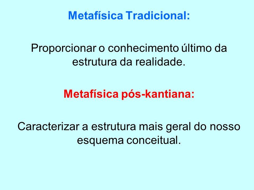 Metafísica Tradicional: Proporcionar o conhecimento último da estrutura da realidade. Metafísica pós-kantiana: Caracterizar a estrutura mais geral do