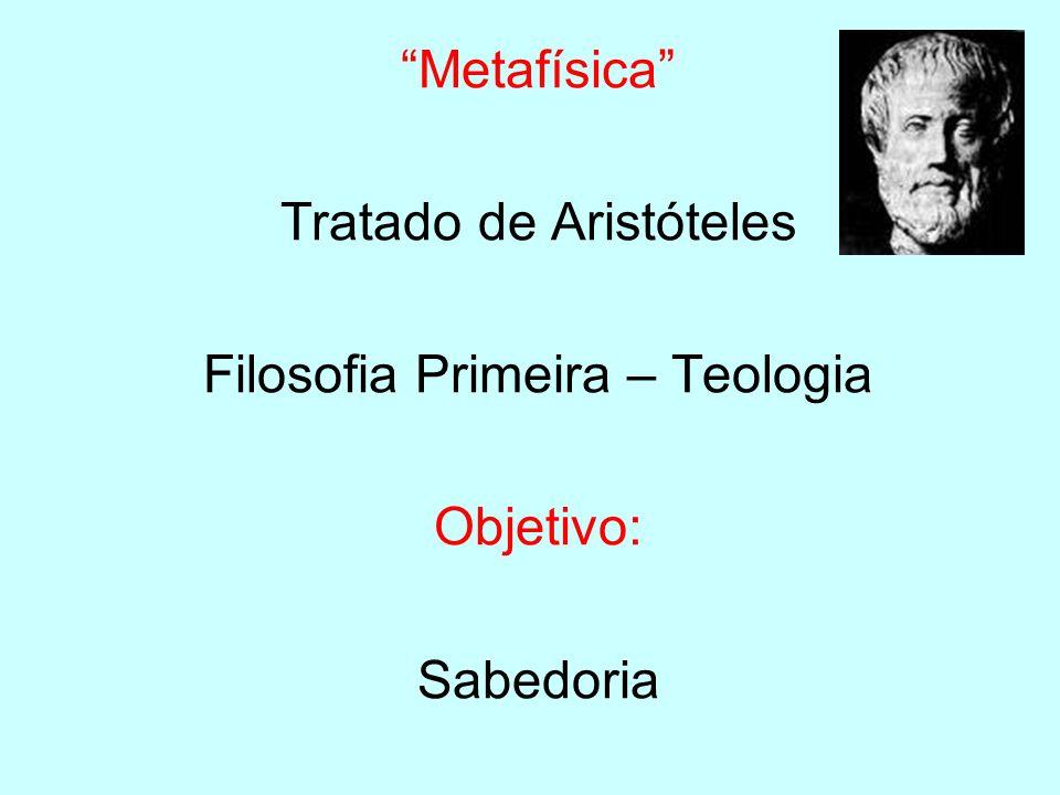 Metafísica Tratado de Aristóteles Filosofia Primeira – Teologia Objetivo: Sabedoria