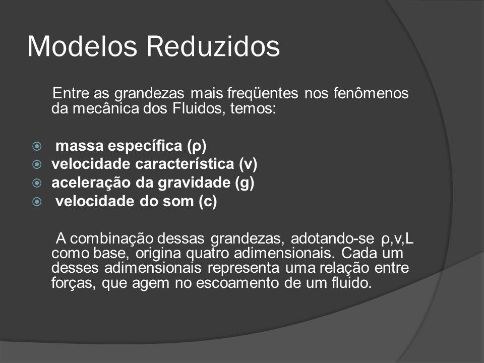 Modelos Reduzidos Entre as grandezas mais freqüentes nos fenômenos da mecânica dos Fluidos, temos: massa específica (ρ) velocidade característica (v)