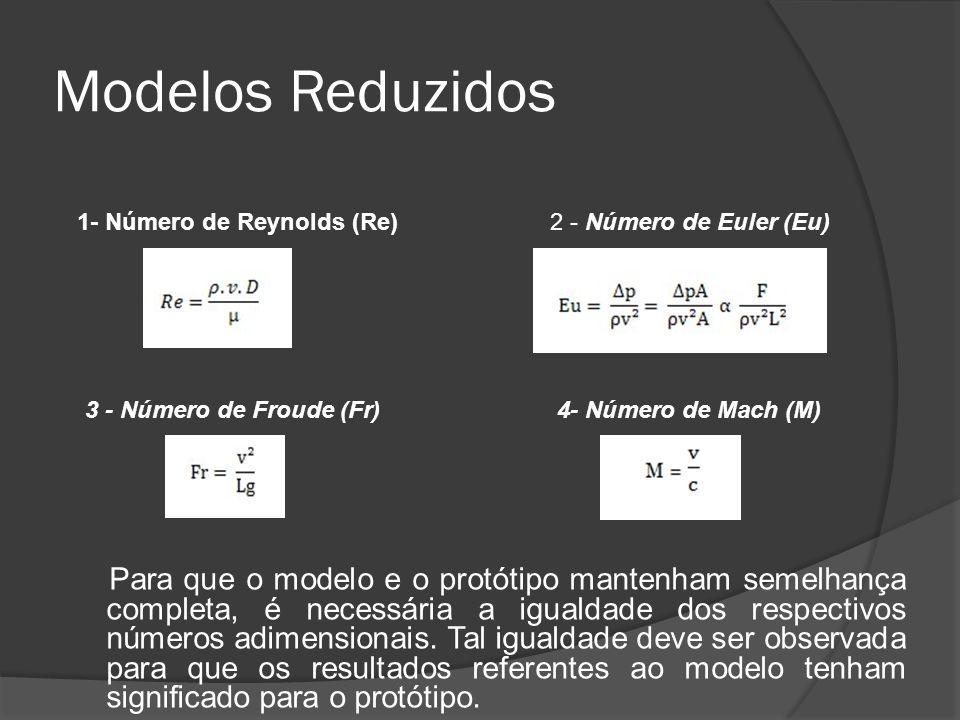 Modelos Reduzidos Para que o modelo e o protótipo mantenham semelhança completa, é necessária a igualdade dos respectivos números adimensionais. Tal i
