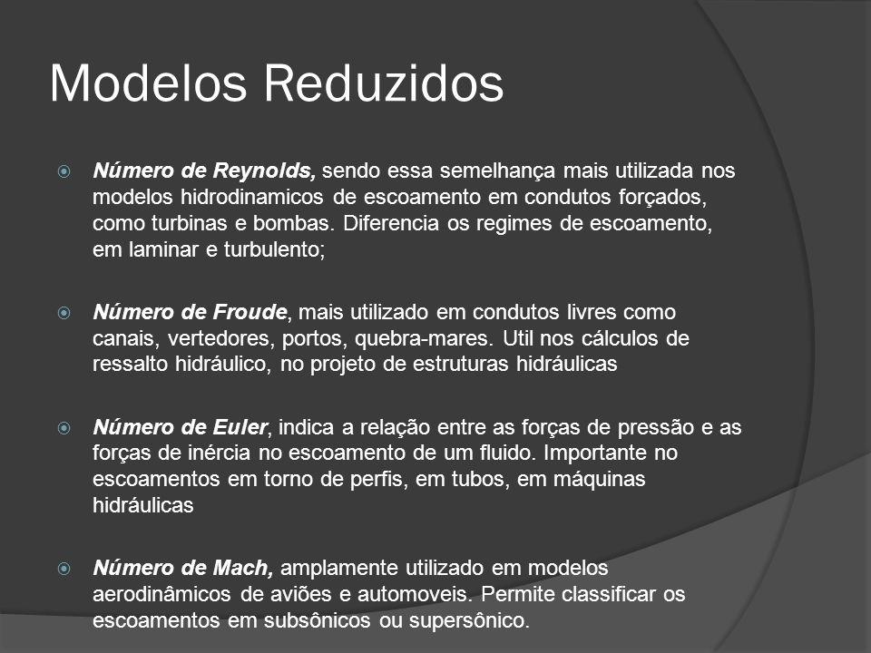 Modelos Reduzidos Número de Reynolds, sendo essa semelhança mais utilizada nos modelos hidrodinamicos de escoamento em condutos forçados, como turbina