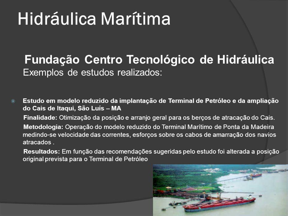 Hidráulica Marítima Fundação Centro Tecnológico de Hidráulica Exemplos de estudos realizados: Estudo em modelo reduzido da implantação de Terminal de