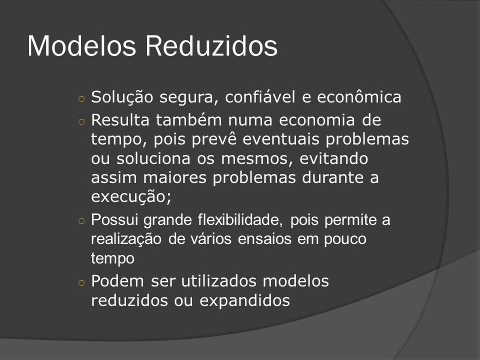 Modelos Reduzidos Solução segura, confiável e econômica Resulta também numa economia de tempo, pois prevê eventuais problemas ou soluciona os mesmos,