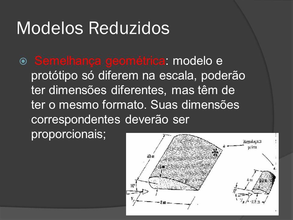 Modelos Reduzidos Semelhança geométrica: modelo e protótipo só diferem na escala, poderão ter dimensões diferentes, mas têm de ter o mesmo formato. Su