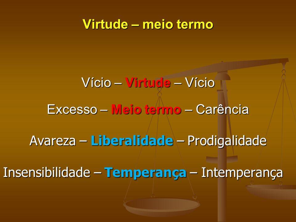 Virtude – meio termo Vício – Virtude – Vício Excesso – Meio termo – Carência Avareza – Liberalidade – Prodigalidade Insensibilidade – Temperança – Int