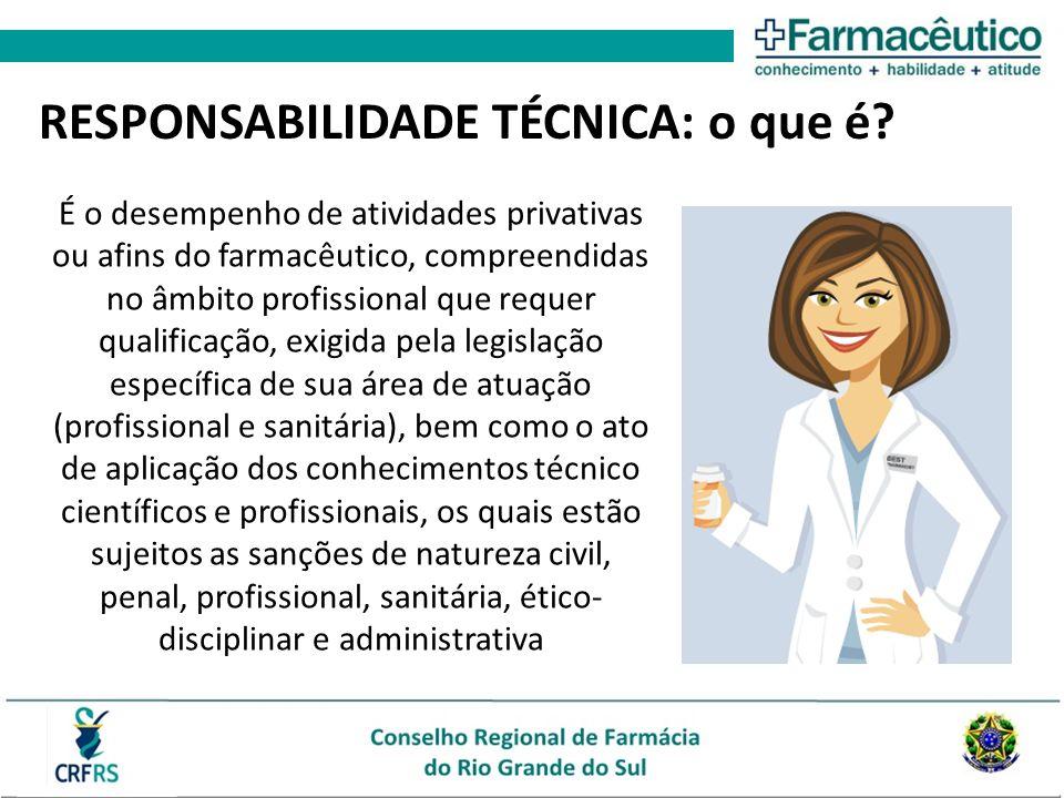 É o desempenho de atividades privativas ou afins do farmacêutico, compreendidas no âmbito profissional que requer qualificação, exigida pela legislaçã