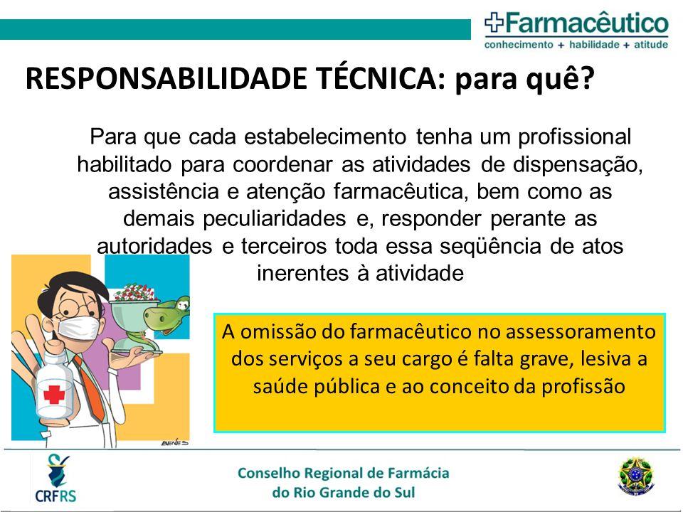 A omissão do farmacêutico no assessoramento dos serviços a seu cargo é falta grave, lesiva a saúde pública e ao conceito da profissão RESPONSABILIDADE