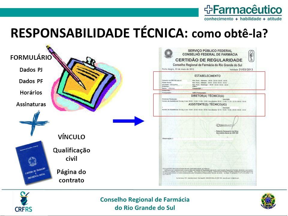 RESPONSABILIDADE TÉCNICA: como obtê-la? FORMULÁRIO Dados PJ Dados PF Horários Assinaturas VÍNCULO Qualificação civil Página do contrato