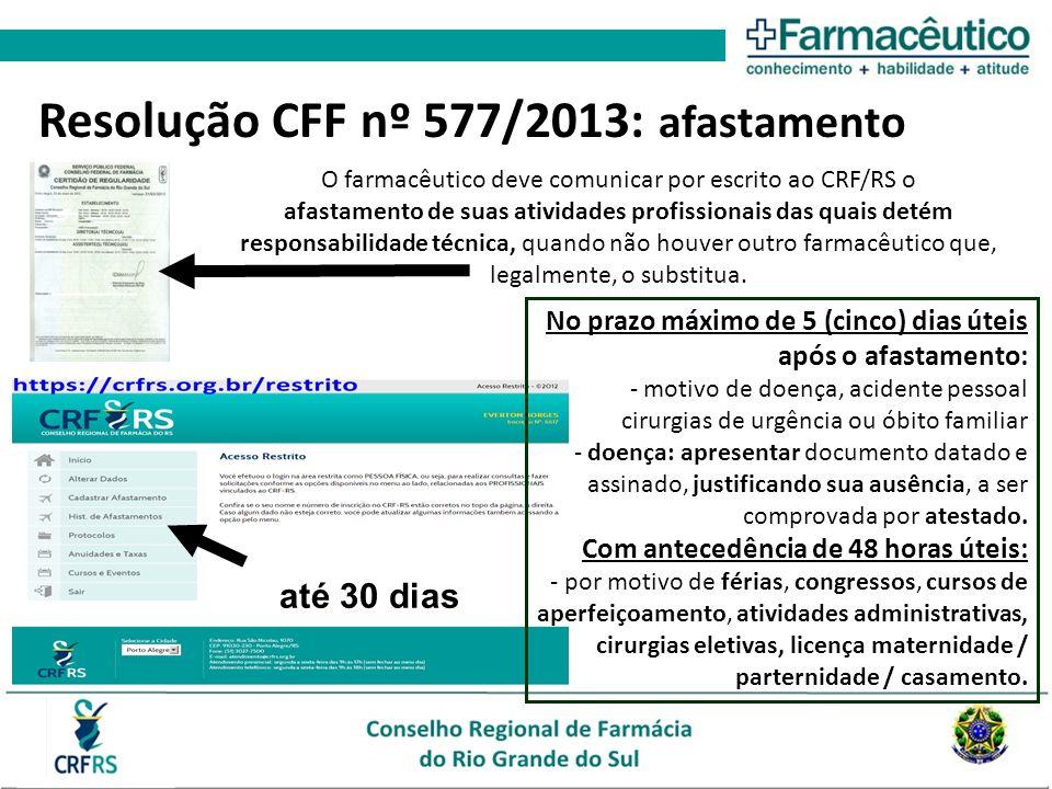 Resolução CFF nº 577/2013: afastamento O farmacêutico deve comunicar por escrito ao CRF/RS o afastamento de suas atividades profissionais das quais detém responsabilidade técnica, quando não houver outro farmacêutico que, legalmente, o substitua.