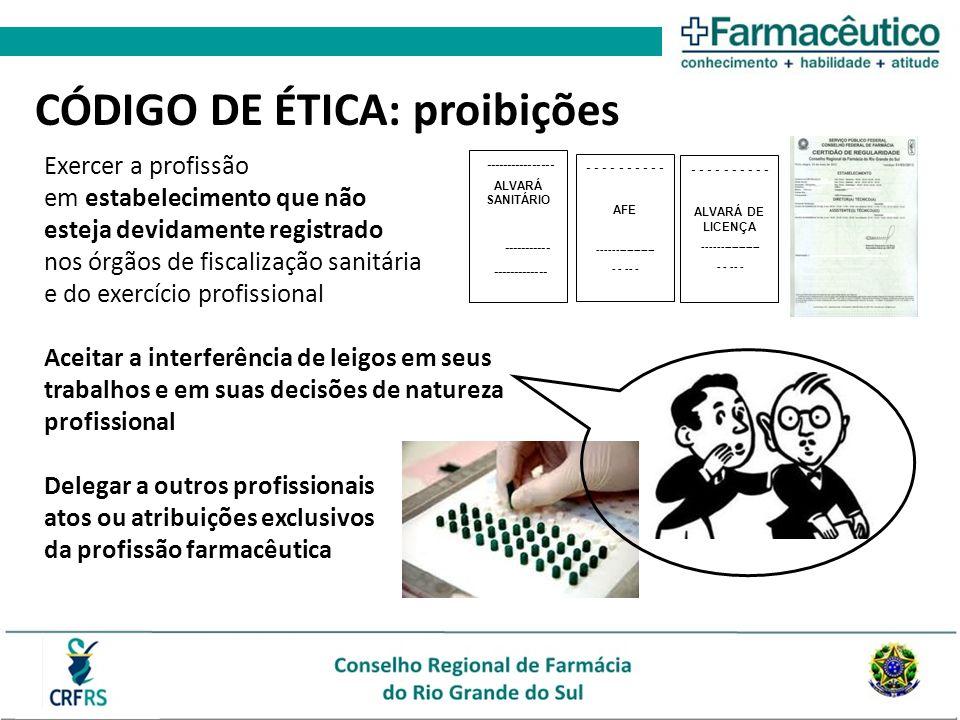 Exercer a profissão em estabelecimento que não esteja devidamente registrado nos órgãos de fiscalização sanitária e do exercício profissional Aceitar