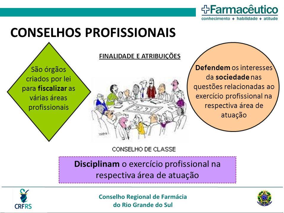 CONSELHOS PROFISSIONAIS Disciplinam o exercício profissional na respectiva área de atuação São órgãos criados por lei para fiscalizar as várias áreas