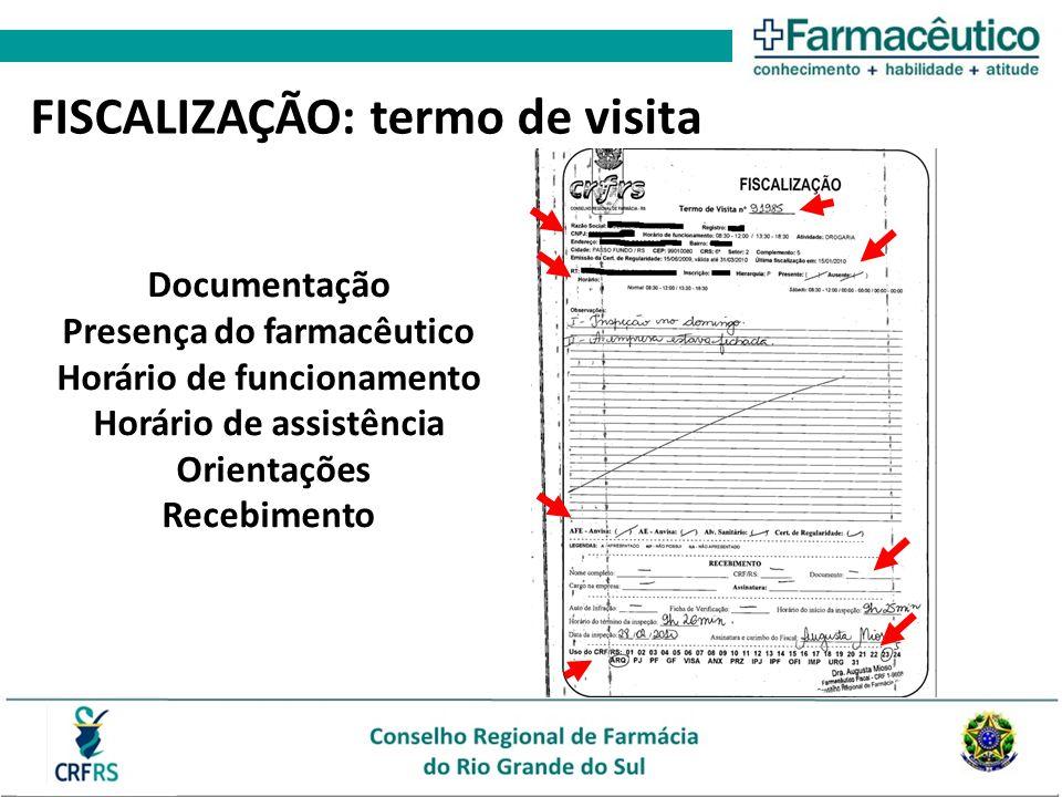 FISCALIZAÇÃO: termo de visita Documentação Presença do farmacêutico Horário de funcionamento Horário de assistência Orientações Recebimento