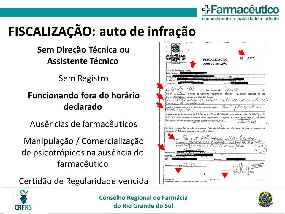FISCALIZAÇÃO: auto de infração Sem Direção Técnica ou Assistente Técnico Sem Registro Funcionando fora do horário declarado Ausências de farmacêuticos