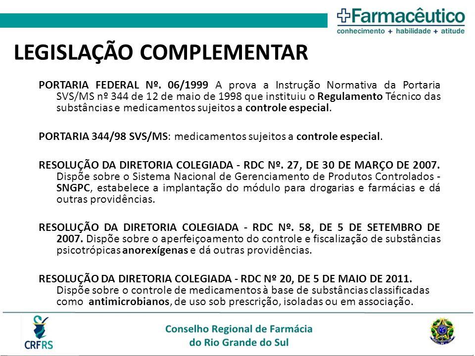 LEGISLAÇÃO COMPLEMENTAR PORTARIA FEDERAL Nº.