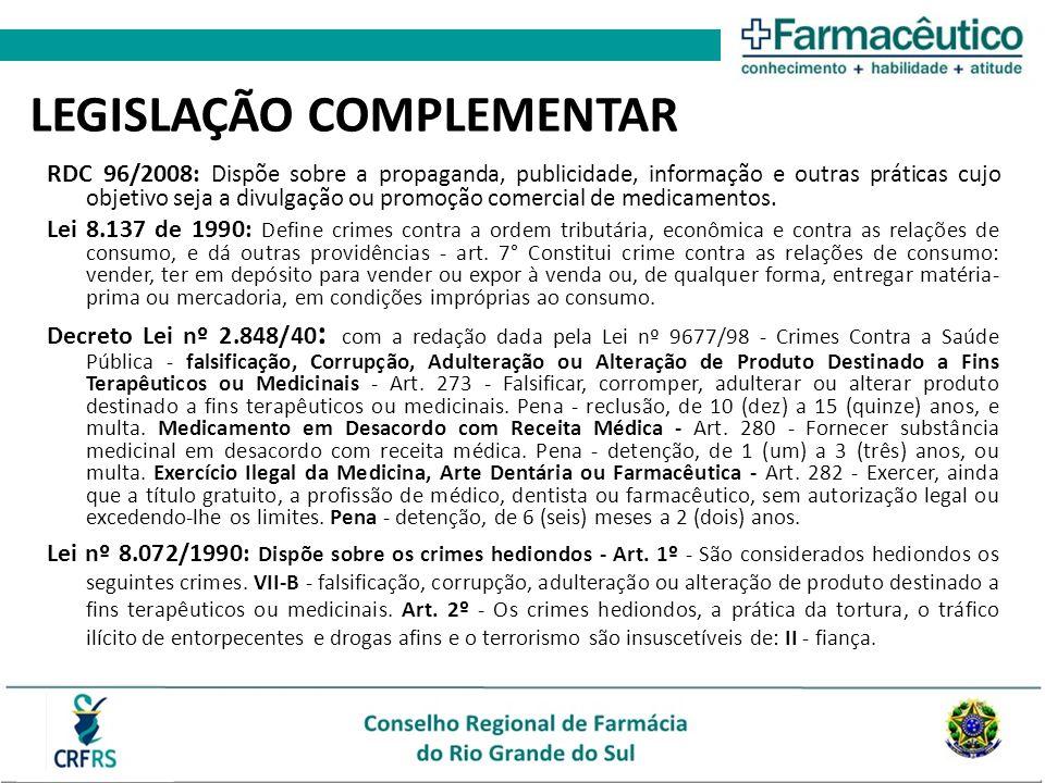 LEGISLAÇÃO COMPLEMENTAR RDC 96/2008: Dispõe sobre a propaganda, publicidade, informação e outras práticas cujo objetivo seja a divulgação ou promoção comercial de medicamentos.
