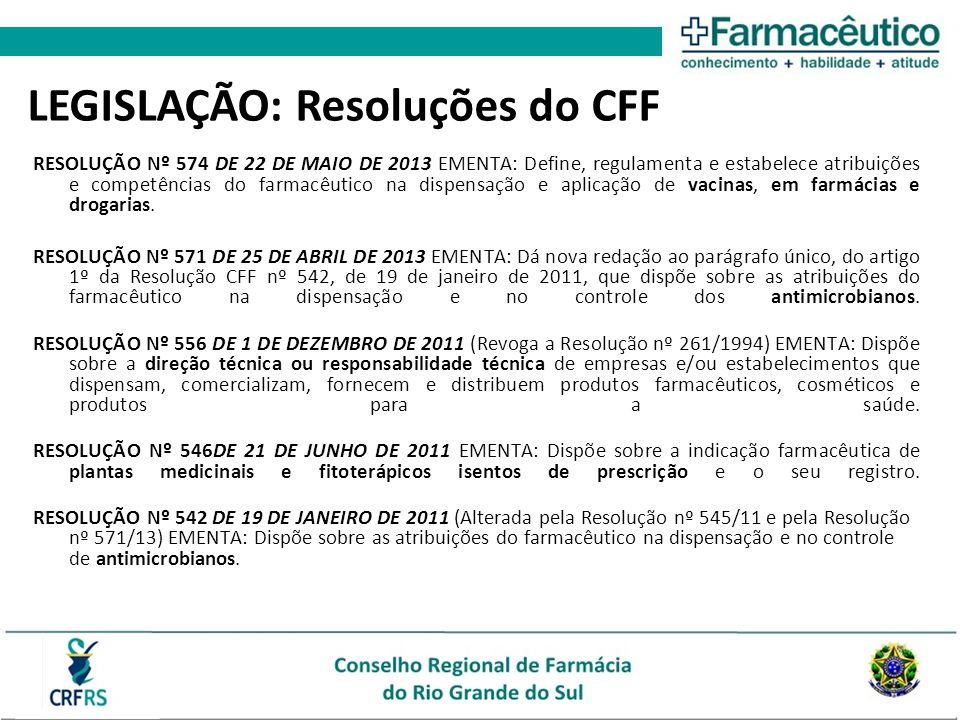 RESOLUÇÃO Nº 574 DE 22 DE MAIO DE 2013 EMENTA: Define, regulamenta e estabelece atribuições e competências do farmacêutico na dispensação e aplicação
