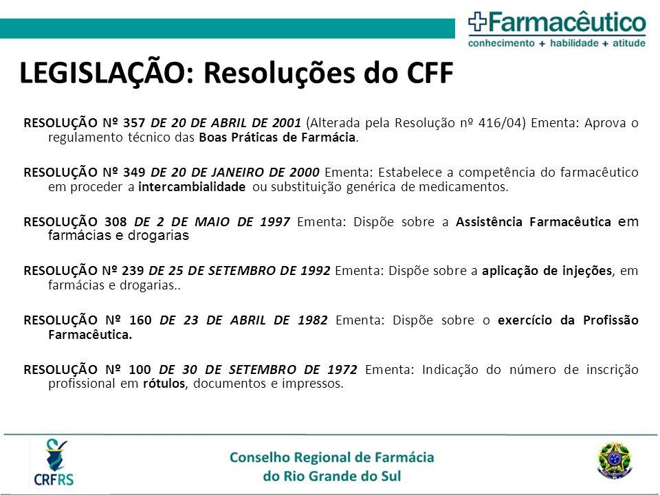 RESOLUÇÃO Nº 357 DE 20 DE ABRIL DE 2001 (Alterada pela Resolução nº 416/04) Ementa: Aprova o regulamento técnico das Boas Práticas de Farmácia.