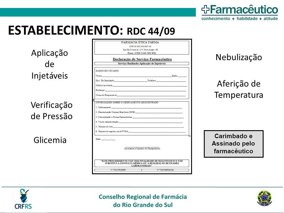 Aplicação de Injetáveis Verificação de Pressão Glicemia Nebulização Aferição de Temperatura Carimbado e Assinado pelo farmacêutico