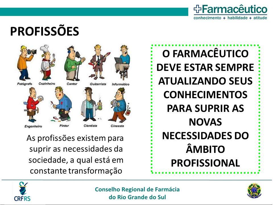 As profissões existem para suprir as necessidades da sociedade, a qual está em constante transformação PROFISSÕES O FARMACÊUTICO DEVE ESTAR SEMPRE ATU
