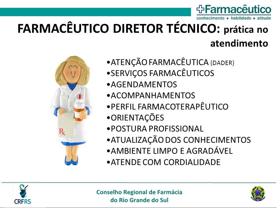 ATENÇÃO FARMACÊUTICA (DADER) SERVIÇOS FARMACÊUTICOS AGENDAMENTOS ACOMPANHAMENTOS PERFIL FARMACOTERAPÊUTICO ORIENTAÇÕES POSTURA PROFISSIONAL ATUALIZAÇÃO DOS CONHECIMENTOS AMBIENTE LIMPO E AGRADÁVEL ATENDE COM CORDIALIDADE FARMACÊUTICO DIRETOR TÉCNICO: prática no atendimento