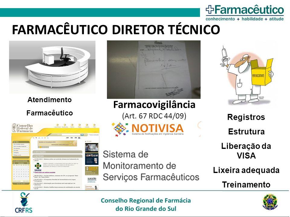 FARMACÊUTICO DIRETOR TÉCNICO Registros Estrutura Liberação da VISA Lixeira adequada Treinamento Atendimento Farmacêutico Farmacovigilância (Art. 67 RD