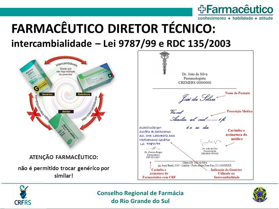 ATENÇÃO FARMACÊUTICO: não é permitido trocar genérico por similar! FARMACÊUTICO DIRETOR TÉCNICO: intercambialidade – Lei 9787/99 e RDC 135/2003