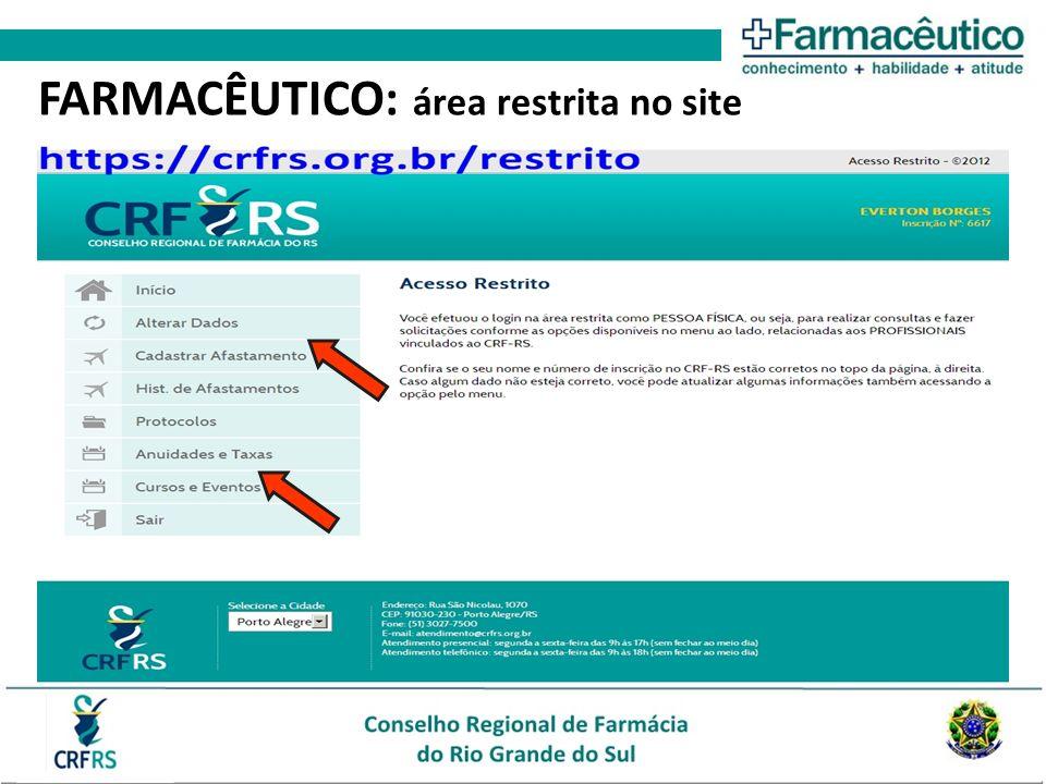 FARMACÊUTICO: área restrita no site