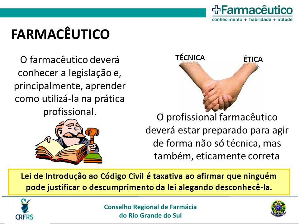 FARMACÊUTICO O farmacêutico deverá conhecer a legislação e, principalmente, aprender como utilizá-la na prática profissional. O profissional farmacêut