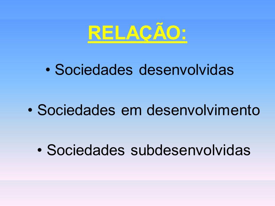 RELAÇÃO: Sociedades desenvolvidas Sociedades em desenvolvimento Sociedades subdesenvolvidas