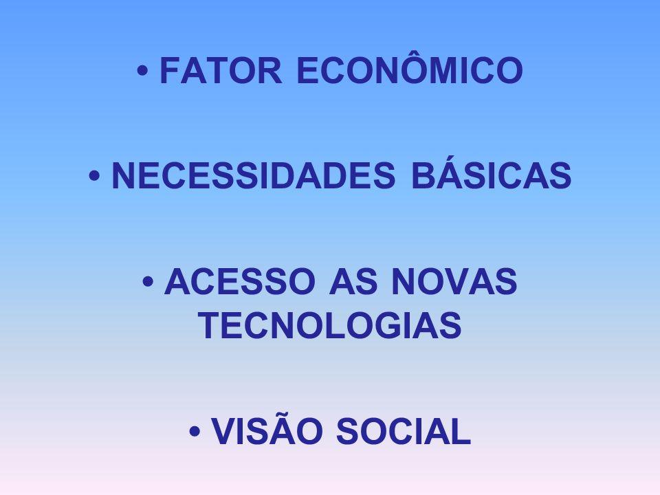 FATOR ECONÔMICO NECESSIDADES BÁSICAS ACESSO AS NOVAS TECNOLOGIAS VISÃO SOCIAL