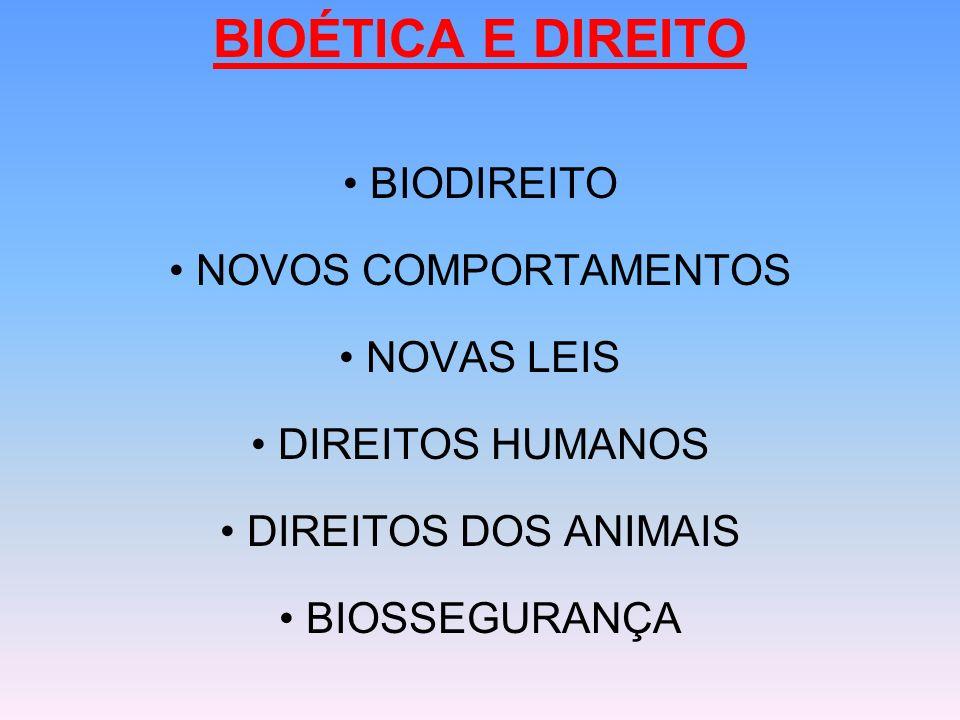 BIOÉTICA E DIREITO BIODIREITO NOVOS COMPORTAMENTOS NOVAS LEIS DIREITOS HUMANOS DIREITOS DOS ANIMAIS BIOSSEGURANÇA