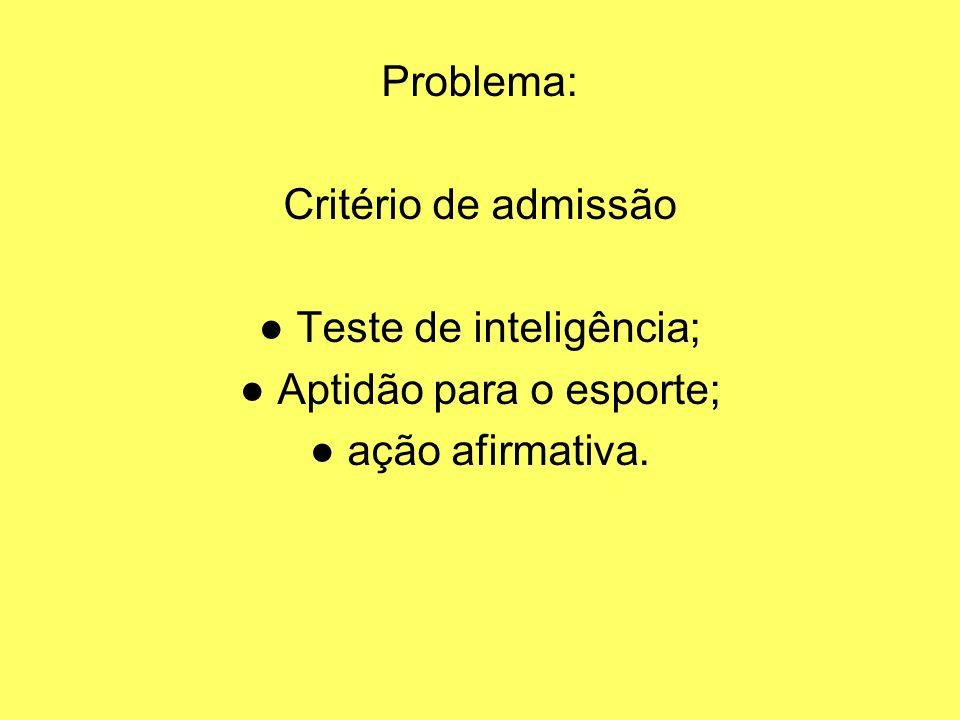 Problema: Critério de admissão Teste de inteligência; Aptidão para o esporte; ação afirmativa.