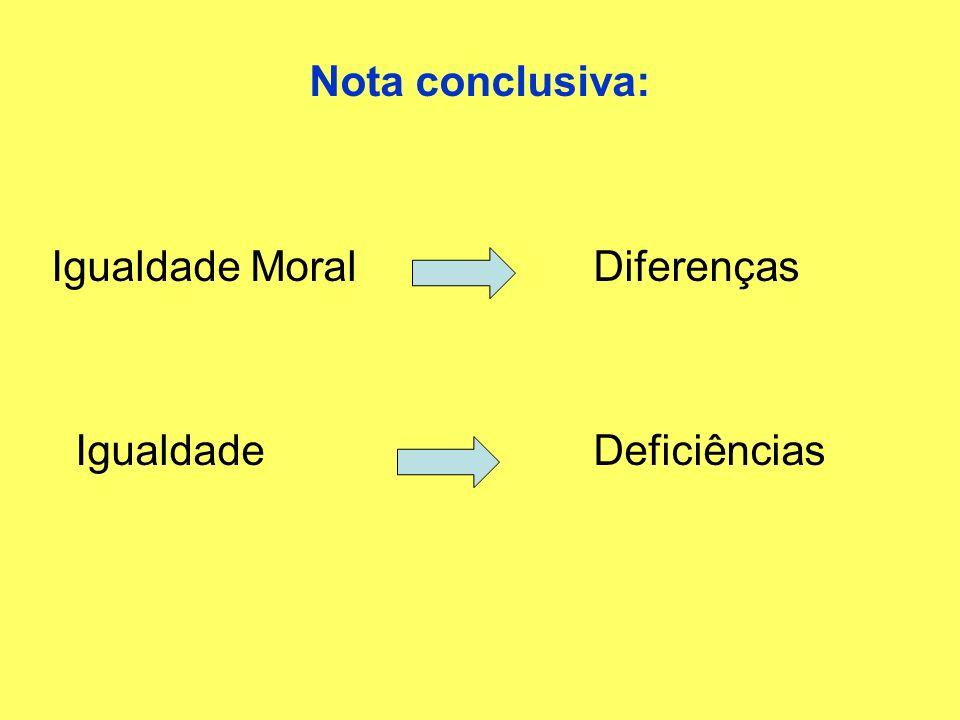 Nota conclusiva: Igualdade Moral Diferenças Igualdade Deficiências