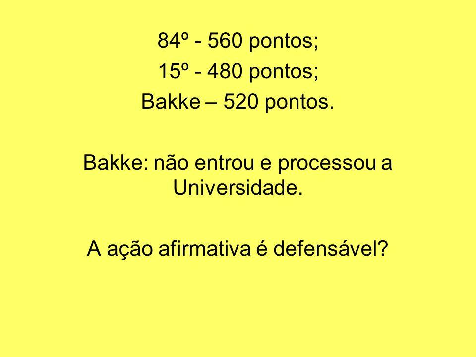 84º - 560 pontos; 15º - 480 pontos; Bakke – 520 pontos. Bakke: não entrou e processou a Universidade. A ação afirmativa é defensável?