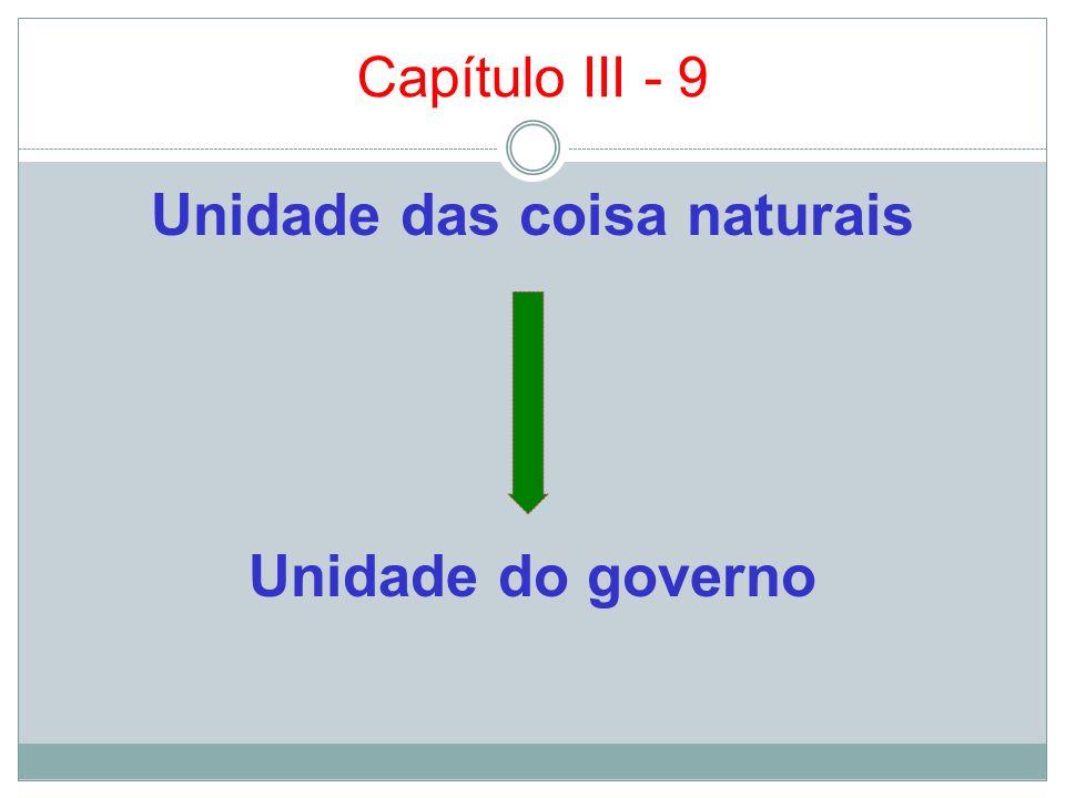 Capítulo III - 9 Unidade das coisa naturais Unidade do governo