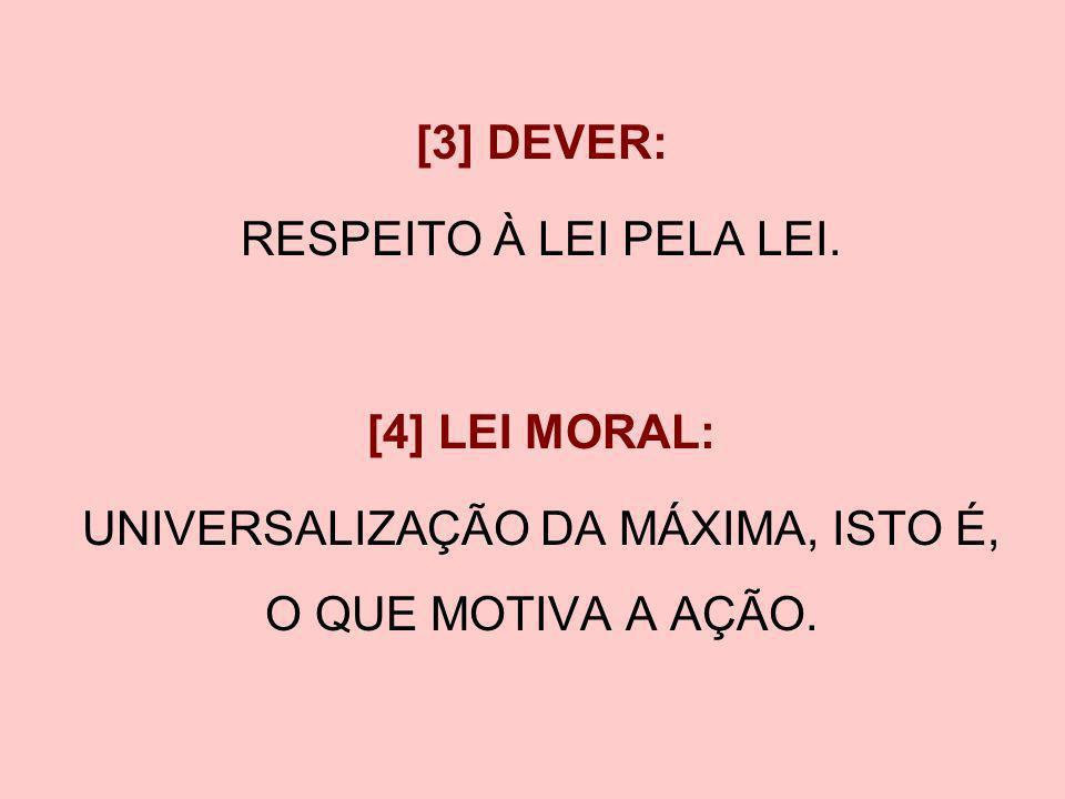 [3] DEVER: RESPEITO À LEI PELA LEI. [4] LEI MORAL: UNIVERSALIZAÇÃO DA MÁXIMA, ISTO É, O QUE MOTIVA A AÇÃO.