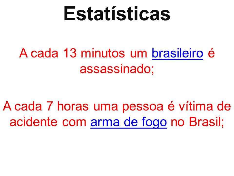 Estatísticas A cada 13 minutos um brasileiro é assassinado;brasileiro A cada 7 horas uma pessoa é vítima de acidente com arma de fogo no Brasil;arma d