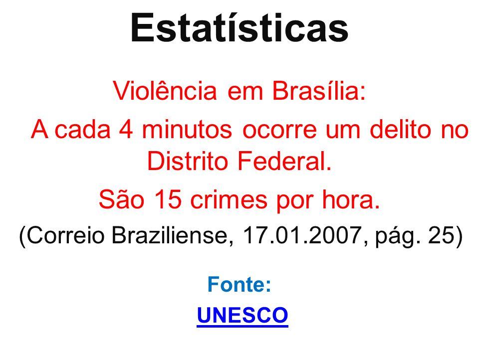 Estatísticas Violência em Brasília: A cada 4 minutos ocorre um delito no Distrito Federal. São 15 crimes por hora. (Correio Braziliense, 17.01.2007, p