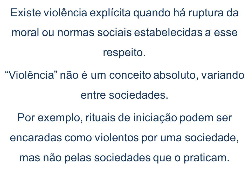 Existe violência explícita quando há ruptura da moral ou normas sociais estabelecidas a esse respeito. Violência não é um conceito absoluto, variando