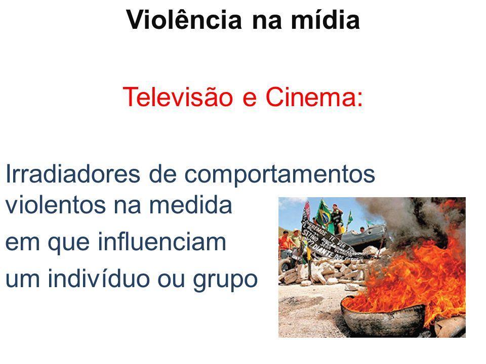 Violência na mídia Televisão e Cinema: Irradiadores de comportamentos violentos na medida em que influenciam um indivíduo ou grupo