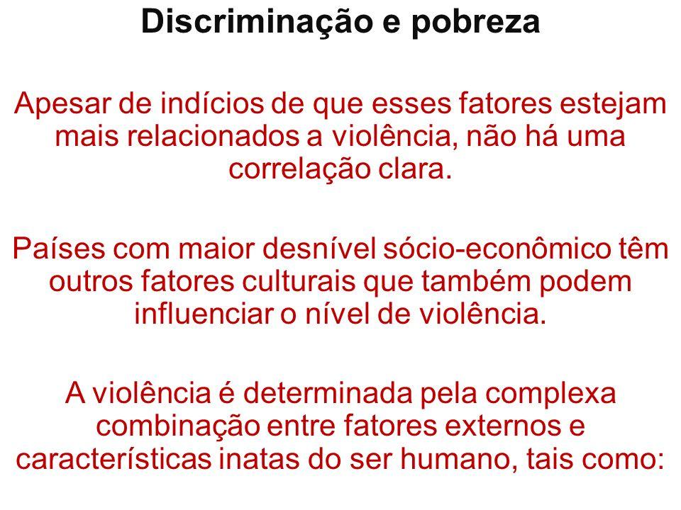 Discriminação e pobreza Apesar de indícios de que esses fatores estejam mais relacionados a violência, não há uma correlação clara. Países com maior d