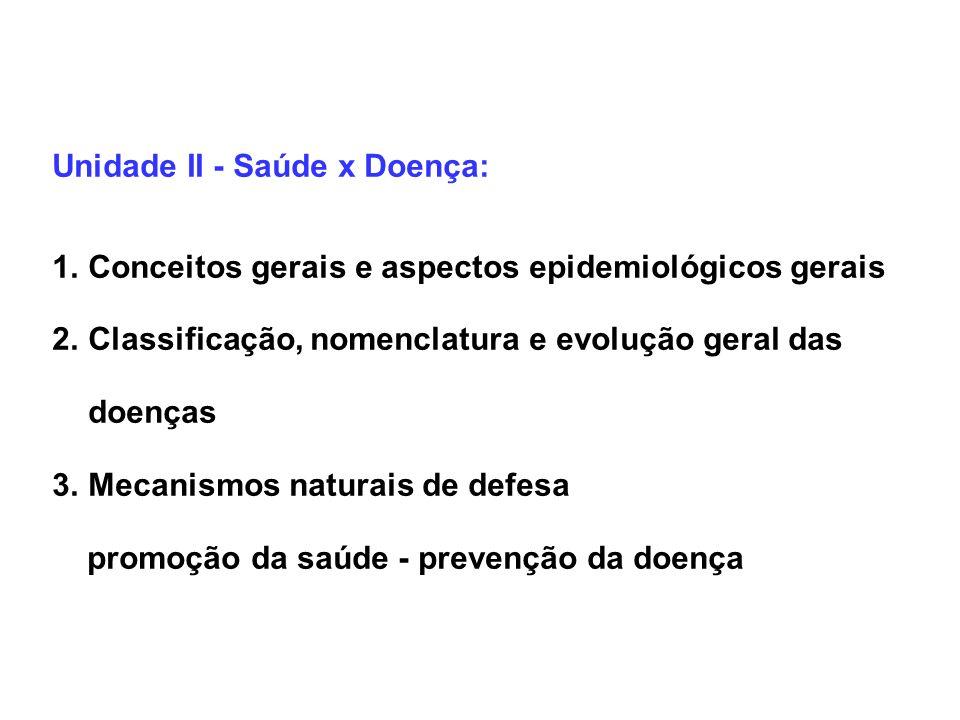 Unidade II - Saúde x Doença: 1.Conceitos gerais e aspectos epidemiológicos gerais 2.Classificação, nomenclatura e evolução geral das doenças 3.Mecanis