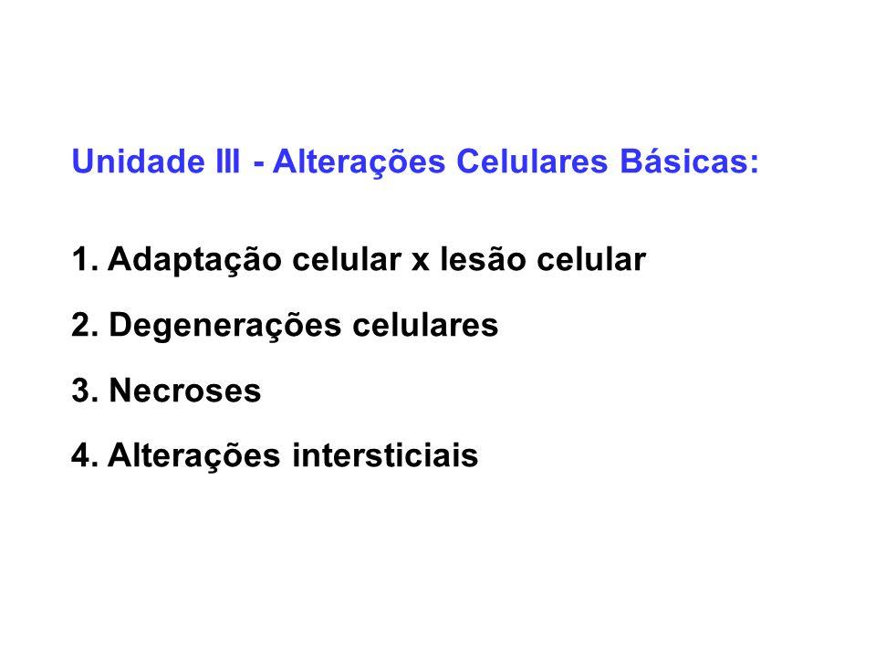 Unidade III - Alterações Celulares Básicas: 1. Adaptação celular x lesão celular 2. Degenerações celulares 3. Necroses 4. Alterações intersticiais
