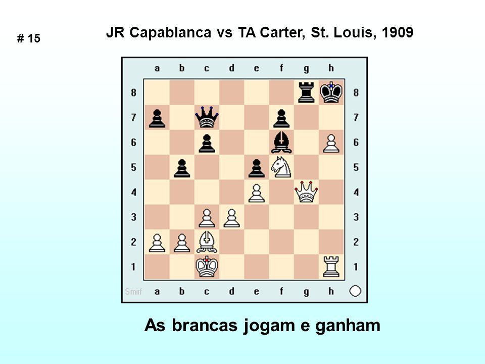 # 15 As brancas jogam e ganham JR Capablanca vs TA Carter, St. Louis, 1909
