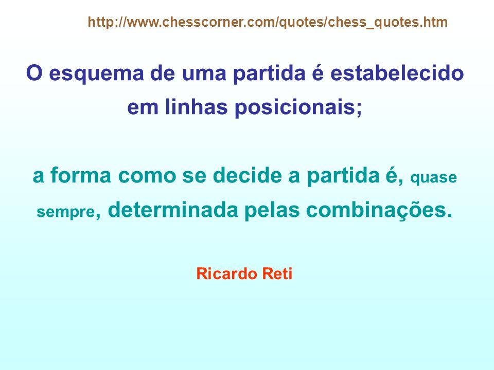 http://www.chesscorner.com/quotes/chess_quotes.htm O esquema de uma partida é estabelecido em linhas posicionais; a forma como se decide a partida é,