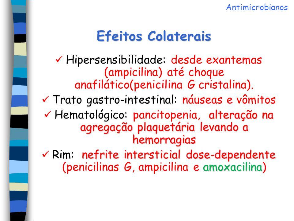 Efeitos Colaterais Hipersensibilidade: desde exantemas (ampicilina) até choque anafilático(penicilina G cristalina). Trato gastro-intestinal: náuseas