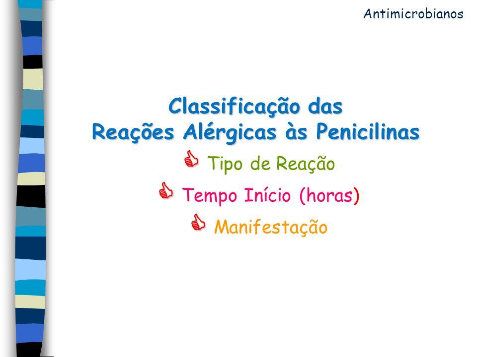 Classificação das Reações Alérgicas às Penicilinas Classificação das Reações Alérgicas às Penicilinas Tipo de Reação Tempo Início (horas) Manifestação