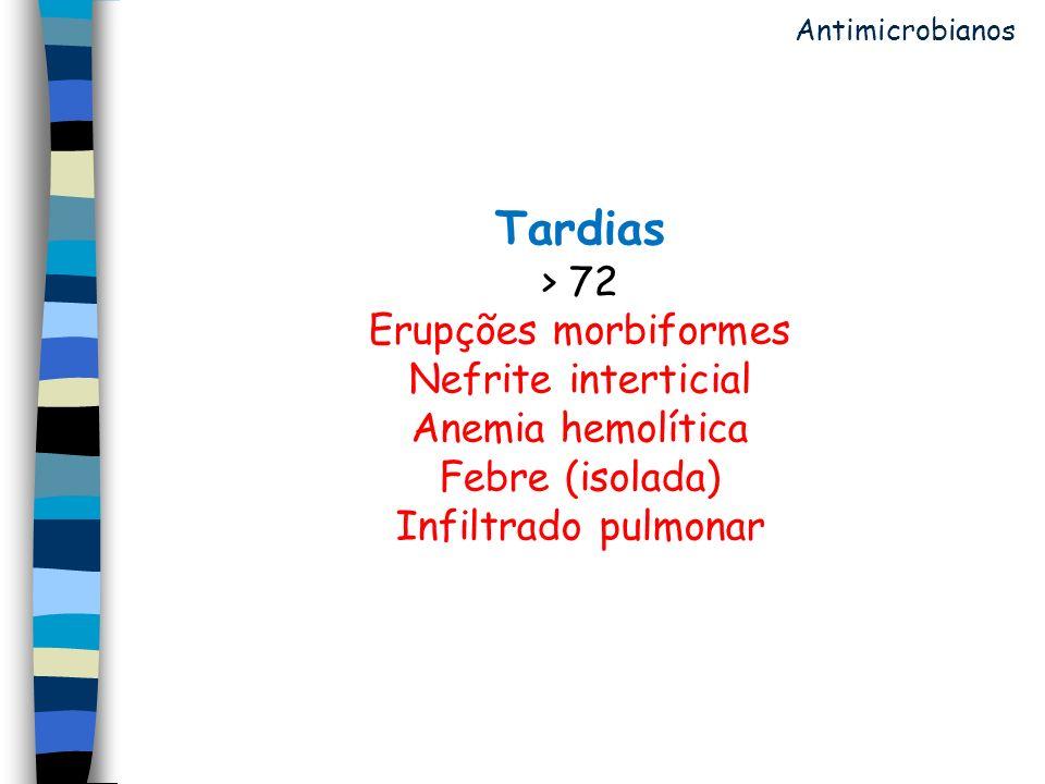 Tardias > 72 Erupções morbiformes Nefrite interticial Anemia hemolítica Febre (isolada) Infiltrado pulmonar Antimicrobianos